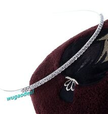 Fashion Stylish Silver Plated Clear Rhinestone Hair Band Headband Hoop