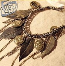 Vintage Fashion Womens Bohemia Style Multilayer Leaves Pendant Chain Necklace UK