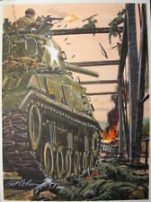 ORIGINAL GIL COHEN PULP ILLUSTRATION COVER ART PAINTING WW2 MILITARY PANZER!!!