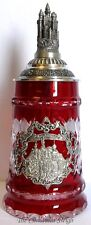 Traditional German Oktoberfest Lidded Beer Stein - Red Lord of Crystal - 0.5 L