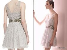 NWT($420) AIDAN MATTOX Size 10 Beadded Mesh Sequined Fit-&-Flare Cocktail Dress