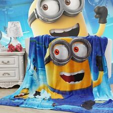 "79""x59"" Despicable Me Minion Plush Soft Silky Flannel Blanket Throw Bedding New"