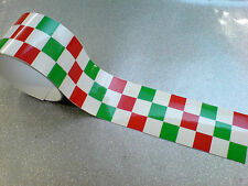 "ITALIAN CHEQUERED TAPE 50"" x 2"" Strip LAMINATED for extra durability 1 off"