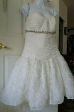 Jordan Fashion Ruched,Crystals Detail, Ivory Wedding Formal Short Dress Size 10