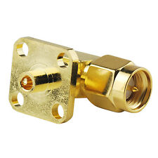 """SMA Male plug 4 hole panel mount Right Angle RF connector for Cable .086"""" RG405"""