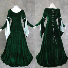 Green Velvet Medieval Renaissance Gown Dress Cosplay Costume LOTR Wedding M