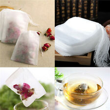 100Pcs White Empty Paper Herb Loose Tea Bags Teabags String Heat Seal Filter CAC