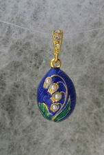 Lily of Valley Egg Penldant,Blue & Green Enamel,S.S.Pearls & Swarovski Crystals