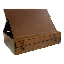 US Art Supply 2-Drawer Adjustable Wooden Storage Box with Fold Up Drawing E