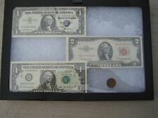 4 LOT: 2 $1 Bills,1 Red Seal $2 Bill & 1 Old One Cent US Coin With Framed Glass!
