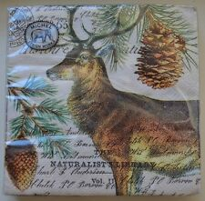 20 Upscale Christmas Deer Cocktail Vintage Michel Paper Napkins Decoupage Craft