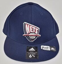 New Jersey Nets NBA Youth adidas Navy Fitted Flat Bill Hat Cap NWT Size 6 3/4