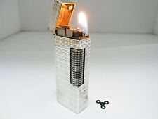 Vintage DUNHILL Rollagas Lighter Silver Gas leaks Auth Swiss W/4p O-rings