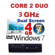 FAST HP CORE 2 DUO 3Ghz WINDOWS 7 4GB GAMING DESKTOP PC COMPUTER 250GB DUAL DISP