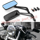 MOTORCYCLE RECTANGLE REARVIEW SIDE MIRRORS 8MM 10MM BLACK CNC FOR BOBBER CRUISER