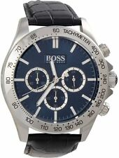 HUGO BOSS 1513176 Men's Black Leather Band Blue Dial w Chronograph