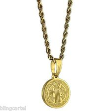 "San Benito Stainless Steel Gold Plated St Saint Benedict Medal 24"" Rope Chain"