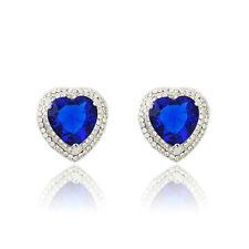 Shiny Stylish Delicate Zircon Crystal Blue Heart Stud Pierced Earrings Jewellery