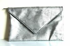 New Metallic Silver Envelope Large Clutch Cosmetic Case Bag