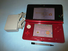 Nintendo 3DS Flame Red System Console w/Charger FREE Shipping!
