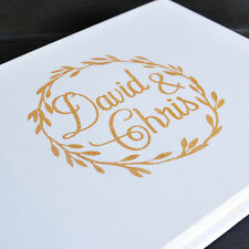 Personalized Wedding guest book, Rustic Gold Foiled Guestbook Unique Guest Book