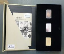 London 2012 Olympics Commemorative 3 Sterling Silver Ingots Boxed Collection