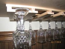 "18 glasses wine glass stemware holder 8"" deep -  pine wood rack new unfinished"