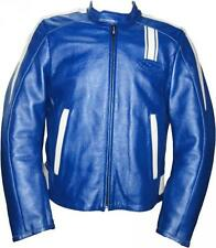 Giubbotto Moto Uomo in Pelle On Off Racing Blu Bianco tg 50