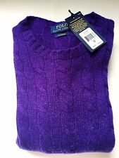 NWT $398 Ralph Lauren CASHMERE CABLE KNIT SWEATER ITALIAN YARN sz M VIOLET