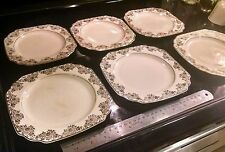 6 antique princess anne Golden dusk 22k gold Ostrow china plates square American
