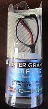 FOSTER GRANT Multi Focus ADVANCED READING GLASSES +1.00 00487 W/Case & Cloth