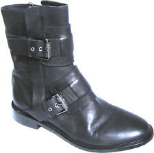 ASH Boot Moto Ankle Motorcycle Military Black Biker Buckle Zipper Zip Bootie 37