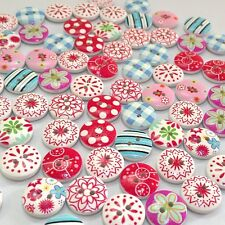 100Pcs 2 Holes Mixed Printing Round Pattern Wood Buttons Scrapbooking 15mm _LSU