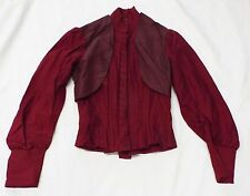 Old Antique VICTORIAN Woman's Red Top BLOUSE w/ Maroon Vest Accent Corset Bodice
