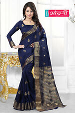 Indian Bollywood Navy Blue Banarasi Silk Jacquard Party Wear Wedding Saree Sari