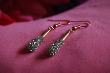 Dangling Sparkling Clear Crystal Earrings in Rose Gold Plated Setting on Hooks