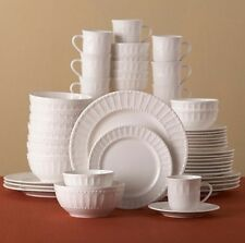 48-Piece Dinnerware Set Casual Dinner Ware Sets Stoneware White Plates 8 Person