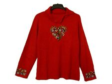 COLDWATER CREEK WOMEN'S WINTER FALL HOLIDAY SWEATER JACKET RED COLOR SIZE XL 18