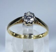 18k oro 0.33ct Diamante Anillo Solitario Vintage Rrp £ 1250