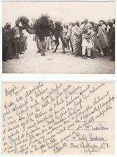 Libia el nueve aziziyah árabes musulmanes con kamel Arab people foto rppc 1923