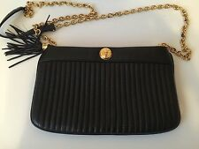 Anne Klein Crossbody Leather Bag Clutch W/ Chain Strap Gold Hardware Black