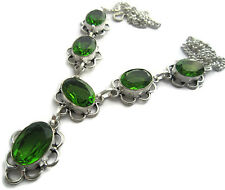 Handmade Faceted Green Stone Necklace Silver Statement Jewelry for Women Teens