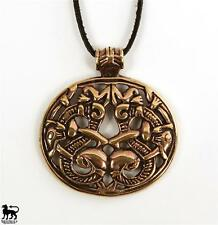 Bronze Viking Double Dragon / Serpent Pendant -- Norse/Medieval/Skyrim/Jewelry
