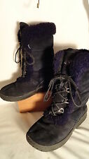 Bear Paw Black Suede, Shearling Lined, Lace Up Boots, Womens 7