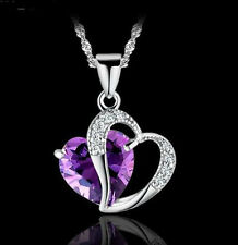 Womens 925 Sterling Silver Purple Amethyst Heart Crystal Chain Pendant Necklace