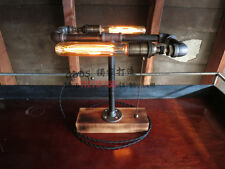 Loft Vintage Industrial Water Pipe Table Light Edison Desk Wood Lamp Double Bulb