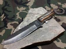 "Colt Damascus Fixed Knife 10 1/2"" Full Tang Stag Bone Stainless Hunting 841"