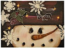 New Country WINTER TIME Snowman Snowflake Lighted Picture Wall Hanging