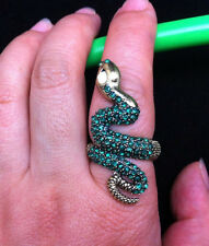 Hot Arrival Elegant Cocktail Green Rhinestone Fashion Animal Bronze Snake Ring