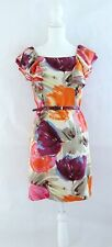 Women's Ruffle Dress BCBG Max Azria 6 100% Silk Floral Print Pink Purple Orange